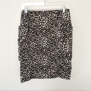 Forever 21 animal print ruched side pencil skirt
